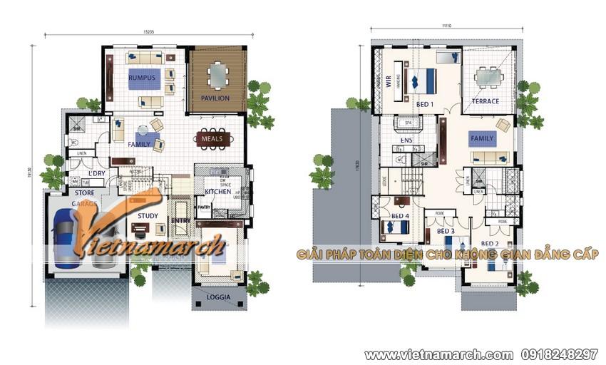 Bản vẽ thiết kế mặt bằng của công trình biệt thự nhà anh Hùng ở Vĩnh Phúc.
