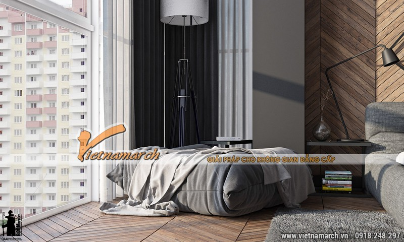 Nội thất trong phòng ngủ của căn hộ cao cấp chung cư New Skyline.
