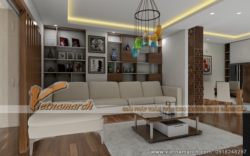 Phối cảnh tổng thể nội thất phòng khách nhà anh Quyết - căn hộ 94,4m2 chung cư Đông Đô - 100 Hoàng Quốc Việt 02
