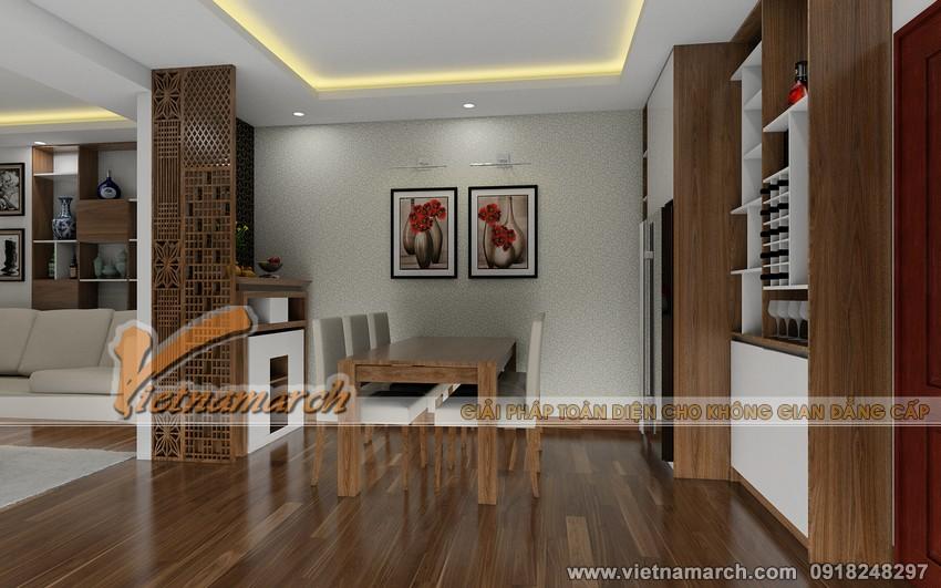Phối cảnh nội thất phòng ăn và nhà bếp trong căn hộ chung cư nhà anh Quyết