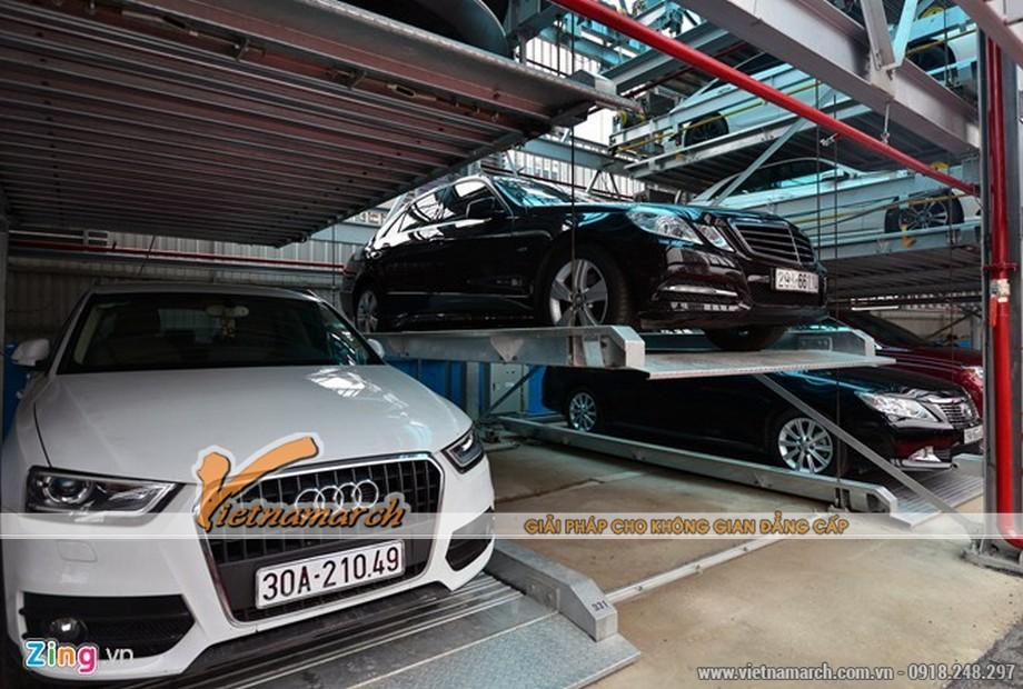 Với thiết kế 4 tầng, diện tích lắp dựng giàn thép là 412 m2, bãi đỗ xe cao tầng chứa tối đa 91 ôtô dưới 7 chỗ ngồi.