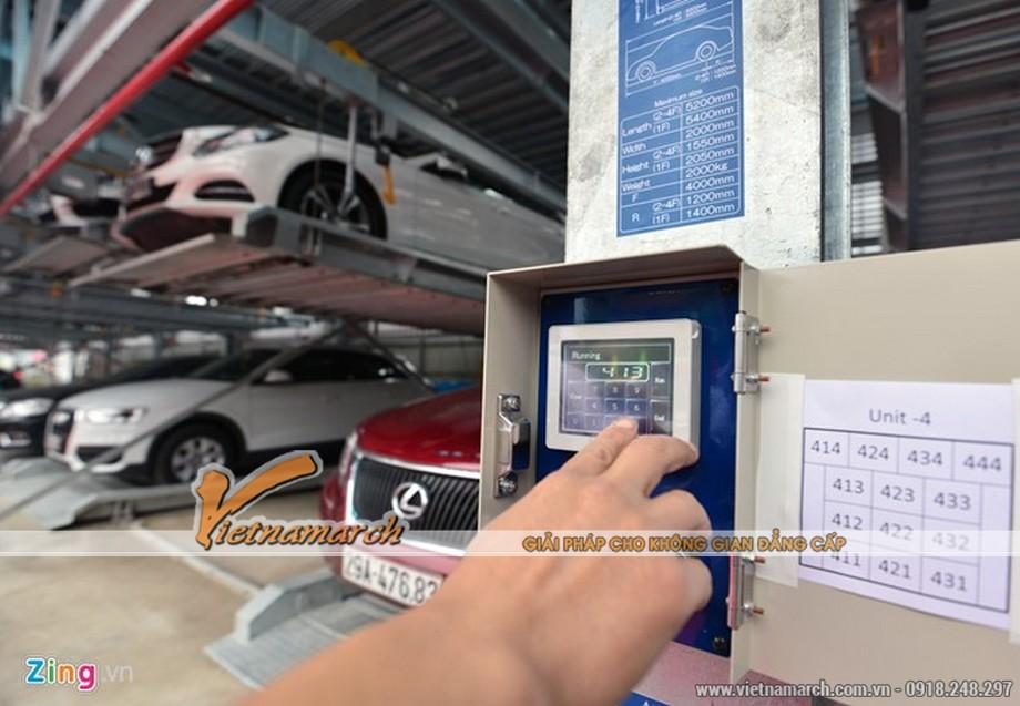 Bãi đỗ xe công nghệ cao. Hệ thống giàn đỗ gồm có 7 block hoạt động theo công nghệ xếp hình của Nhật Bản