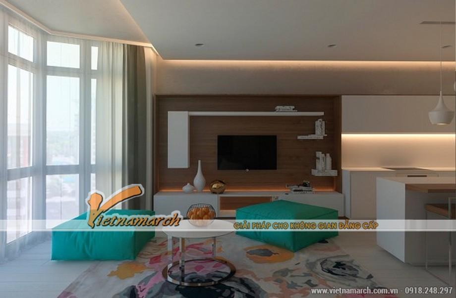 Hoàn thiện trần thạch cao và nội thất cho phong khách nhà cô Hoa chung cư Đông Đô 01