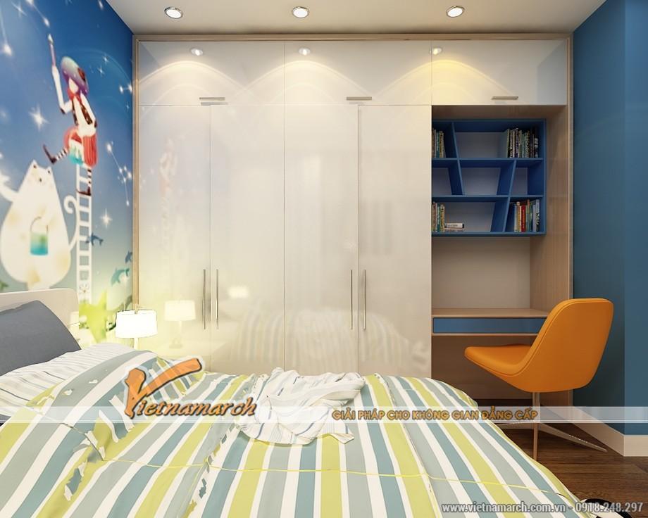 Hoàn thiện trần thạch cao và đồ nội thất cho phòng ngủ của trẻ, Màu sắc trong phòng được bố trí hài hòa, sinh động