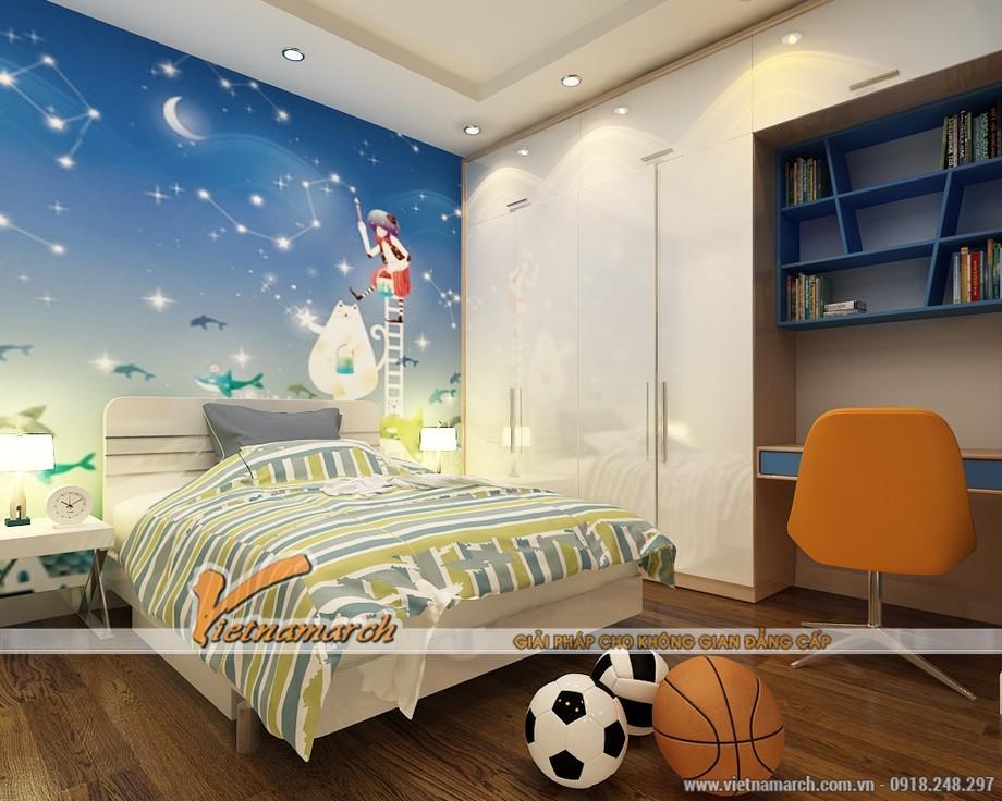 Hoàn thiện thi công nội thất cho phòng ngủ của trẻ - căn hộ 1807 thiết kế nội thất chung cư Đông Đô