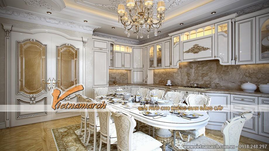 Những chiếc ghế ăn damask là thiết kế đặc biệt đáng ngưỡng mộ.