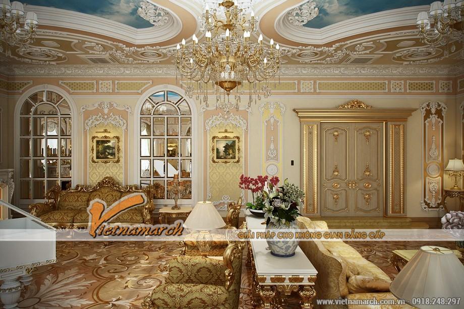 Thiết kế nội thất phòng khách mang phong cách Louis XV