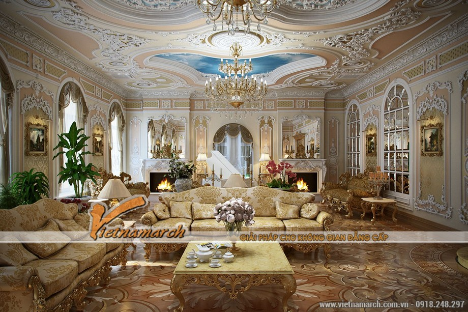 Màu hồng và xanh được sử dụng nhiều trên tường và trần nhà