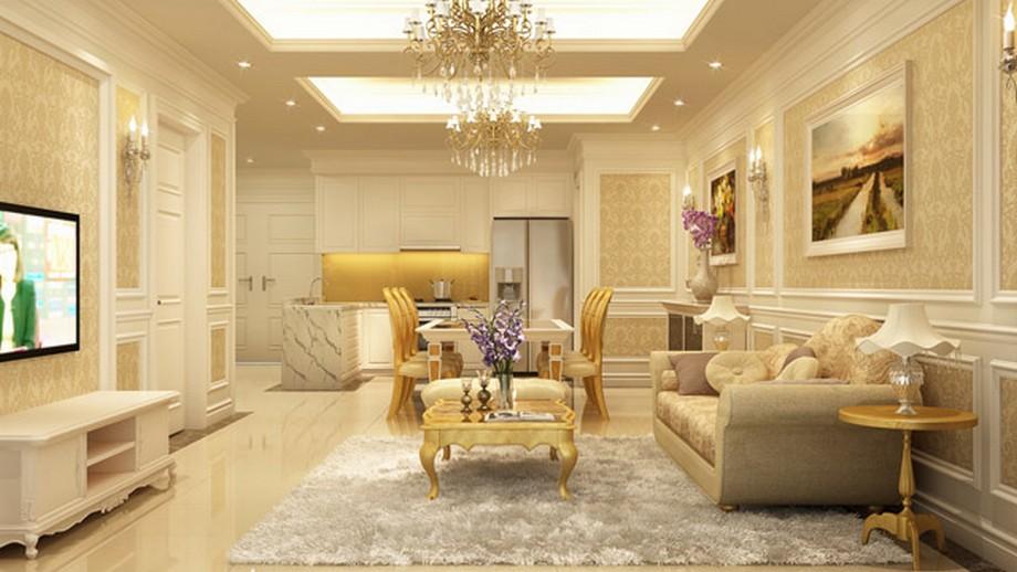 Nội thất trong căn hộ mẫu được thiết kế mang đậm phong cách tân cổ điển