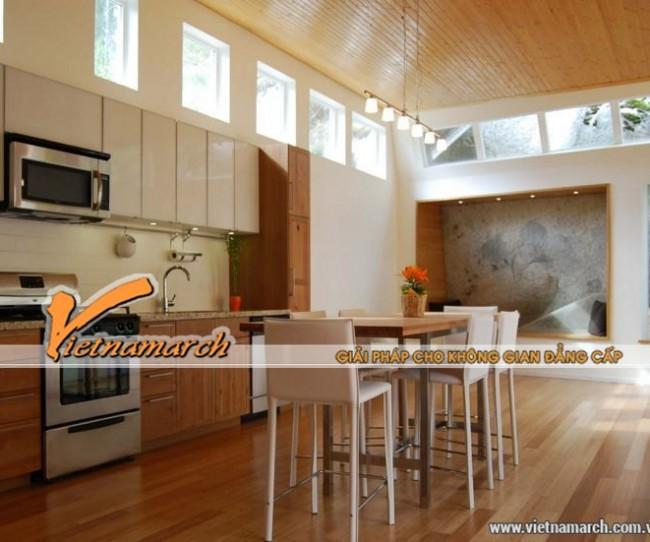 Nội thất nhà bếp được thiết kế với tông màu nâu