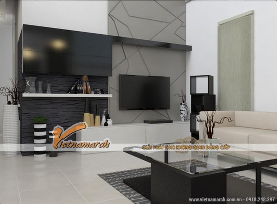Phòng khách hiện đại với sự kết hợp của 2 màu trằng, đen
