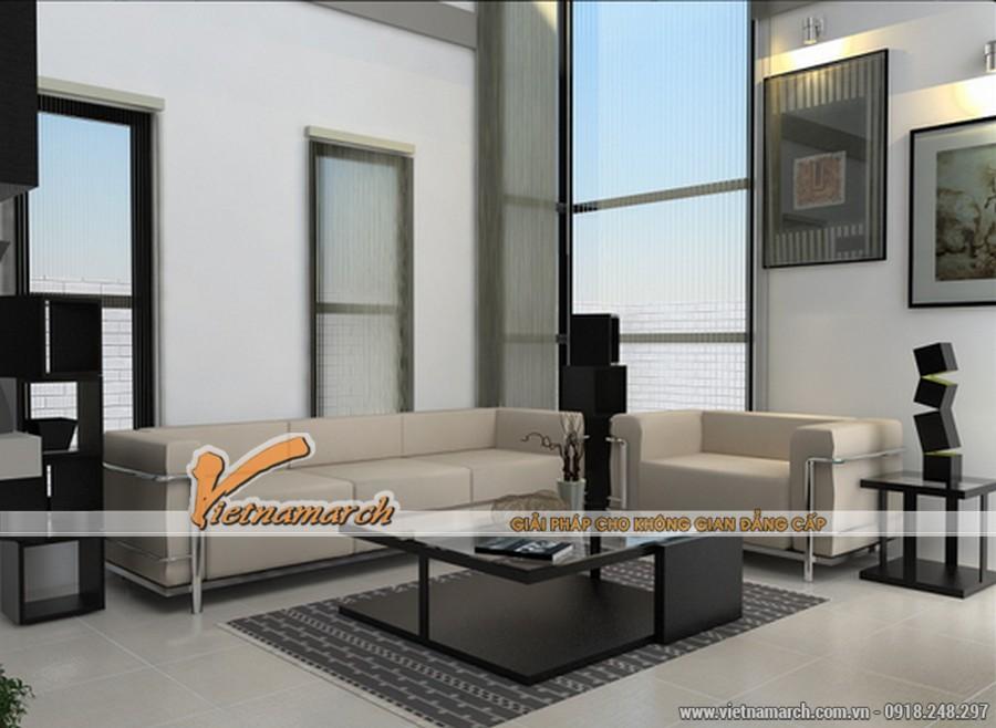 Phòng khách hiện đại và vuông vức với những thiết kế khối hộp