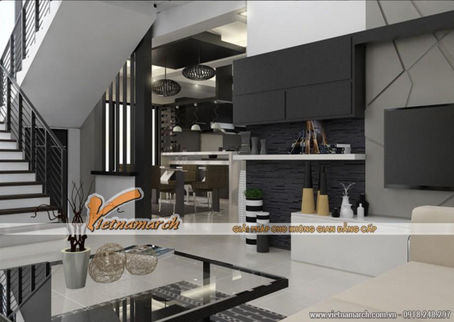 Từ phòng khách có thể nhìn rõ không gian trong phòng ăn và nhà bếp