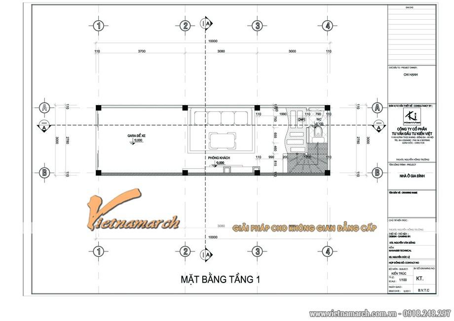 Phương án thiết kế nhà mặt phố tầng 1 cho nhà chị Hạnh