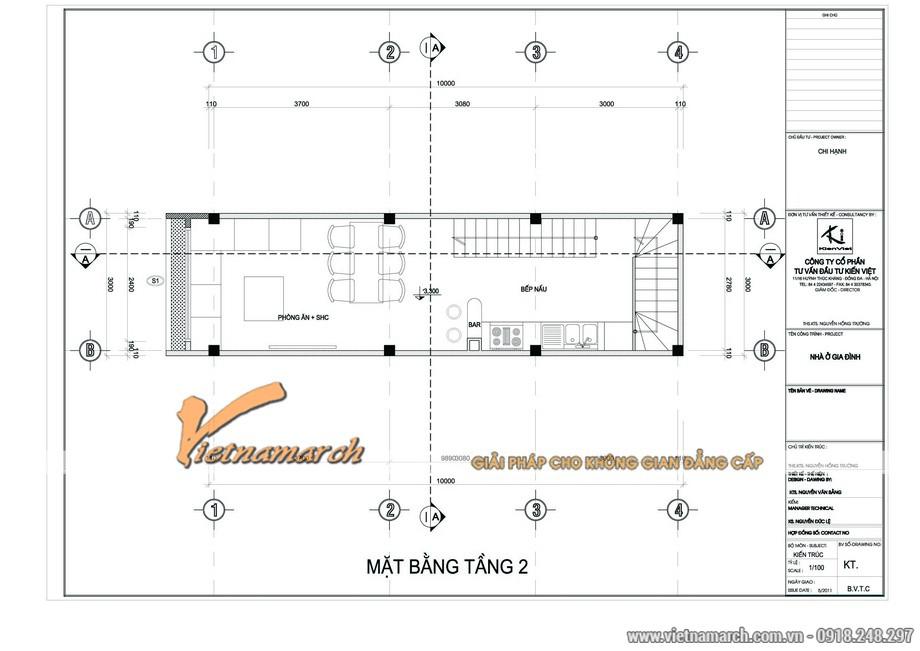 Phương án thiết kế nhà mặt phố tầng 2 cho nhà chị Hạnh
