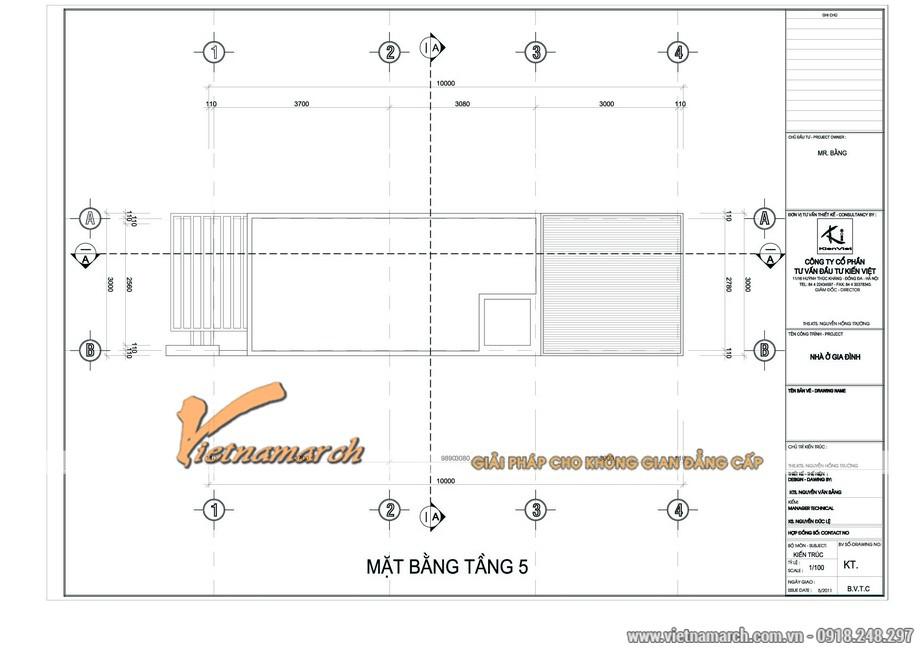 Bản vẽ thiết kế mặt bằng tầng 5