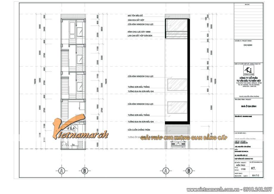 Phối cảnh tổng thể nhà phố 5 tầng của nhà chị Hạnh