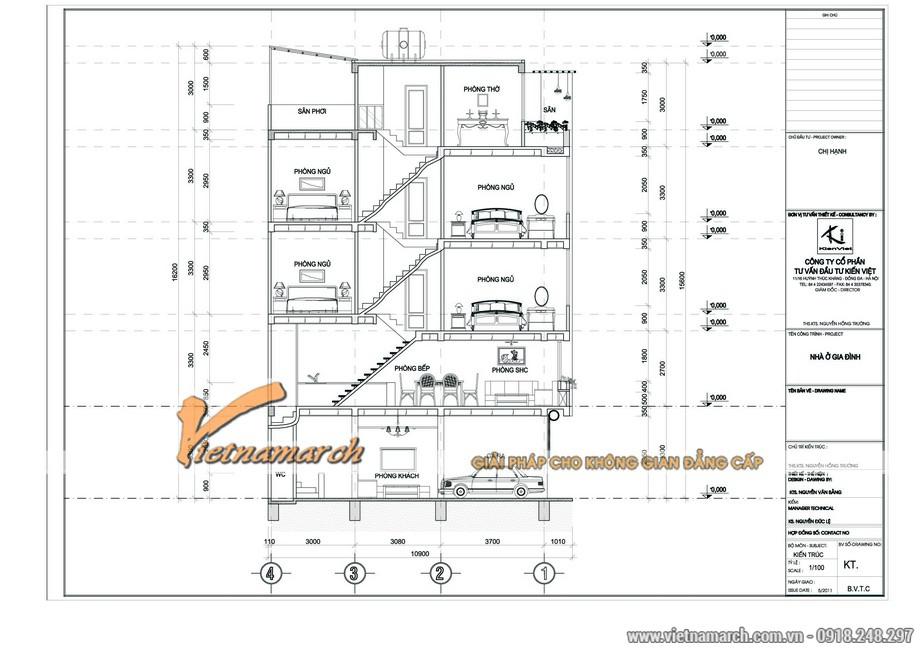 Bản thiết kế tổng thể nhà phố 5 tầng của nhà chị Hạnh