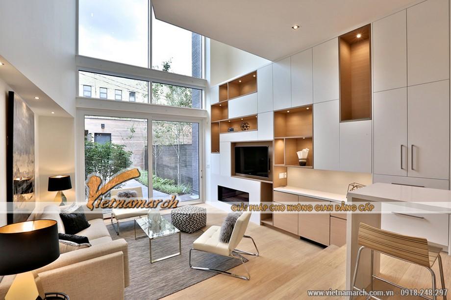 Nội thất phòng khách hiện đại với tông màu sáng