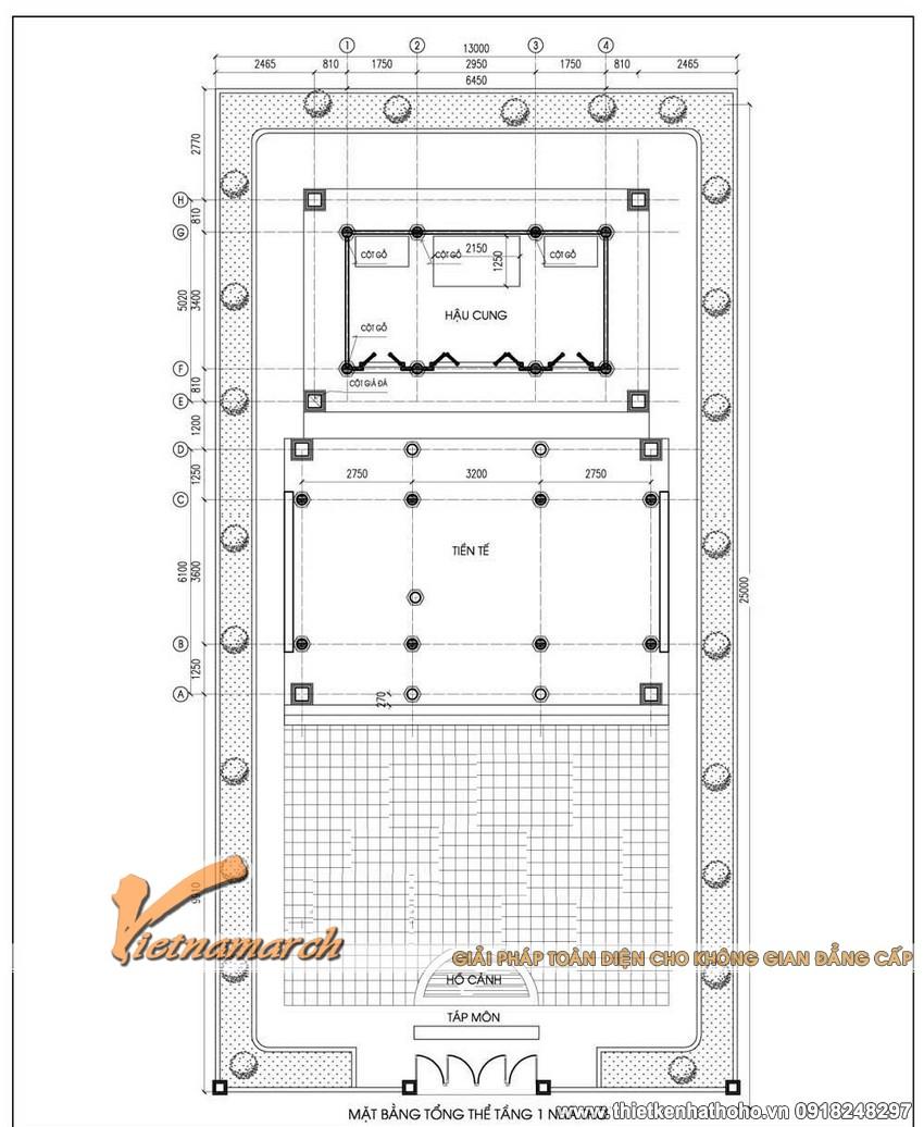 Mặt cắt tổng thể của bản thiết kế nhà thờ họ Vũ Yên Hưng