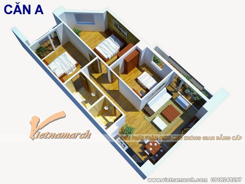 Phối cảnh tổng thể căn hộ chung cư Đông Đô 100 Hoàng Quốc Việt.
