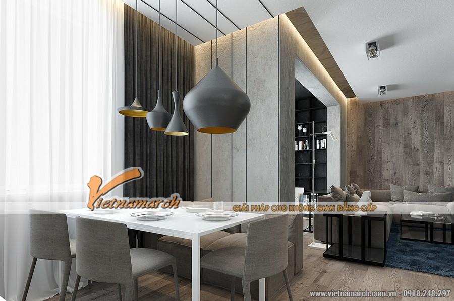 Phòng ăn và nhà bếp được thiết kế chung với phòng khách