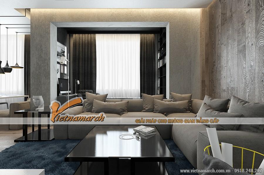 Phòng khách được thông liền với nhà bếp với bộ sofa góc rộng rãi