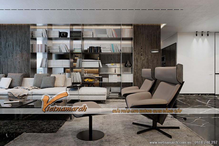 Phòng khách rộng 17,70m2 với thiết kế nội thất hiện đại