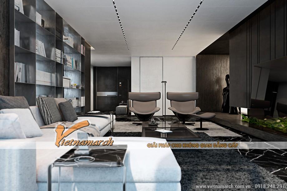 Vietnamarch lên phương án thiết kế nội thất phòng khách - chung cư Trung Kính Complex Home City