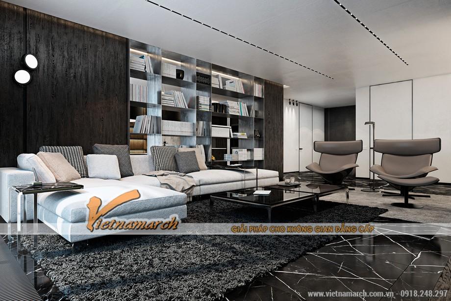 Nội thất phòng khách hiện đại đẳng cấp trong căn hộ AA tòa B chung cư Trung Kính Complex Home City