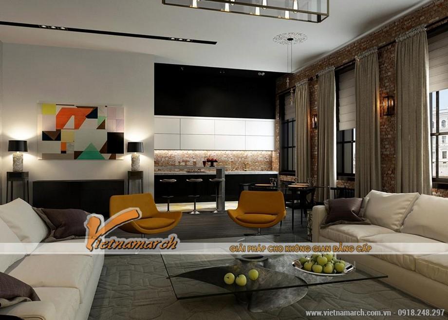 Nội thất phòng khách căn hộ A1B tòa A - chung cư Trung Kính Complex HomeCity