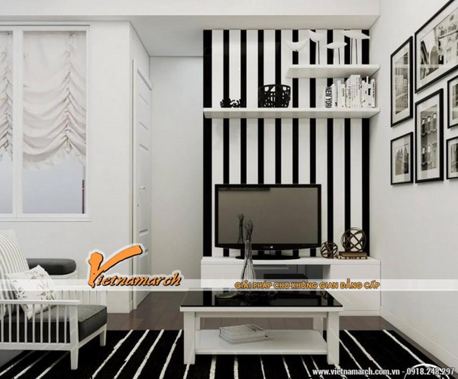 Nội thất phòng khách được thiết kế sang trọng bằng tông màu đen trắng