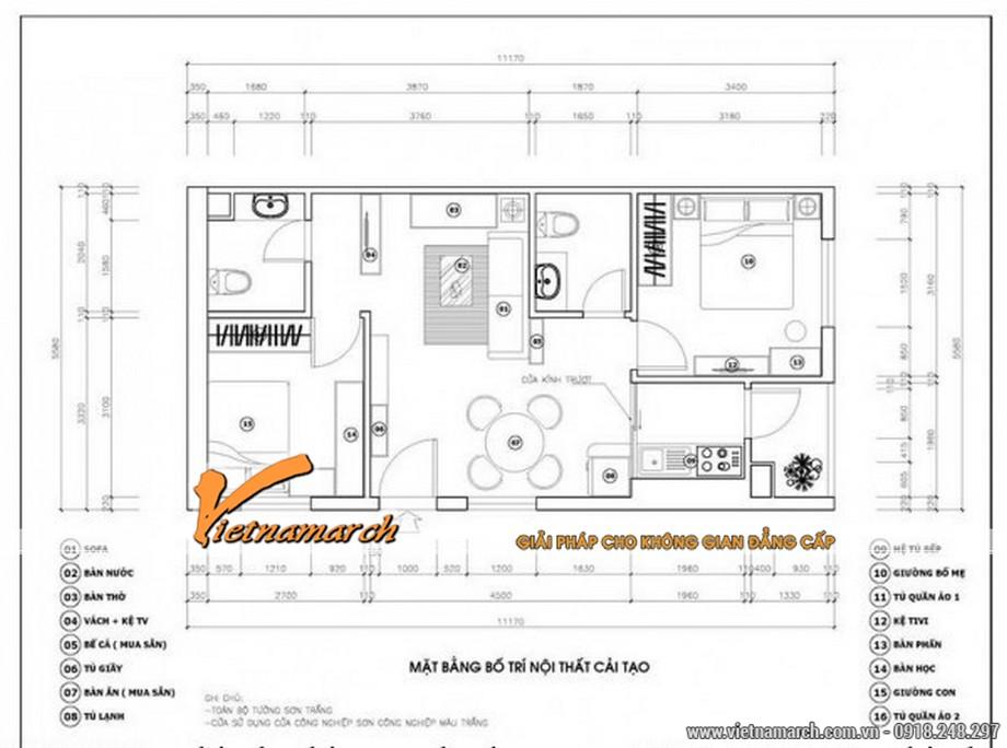 Mặt bằng chung cư căn hộ 70m2 ở Goldmark City