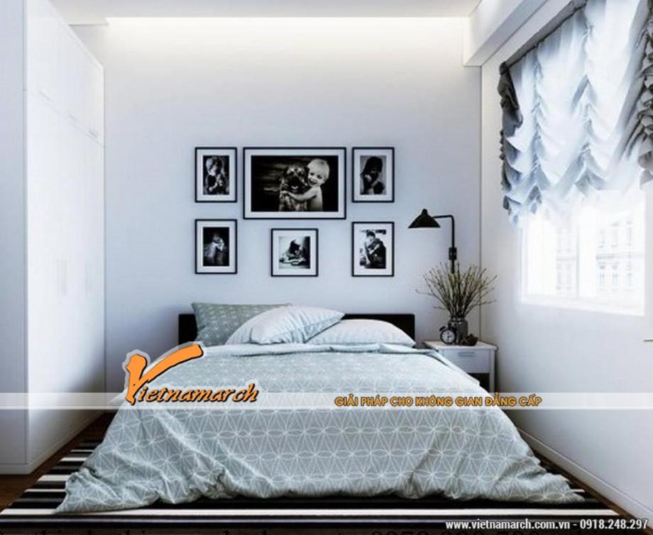 Thiết kế nội thất đơn giản ở phòng ngủ căn hộ chung cư 70m2