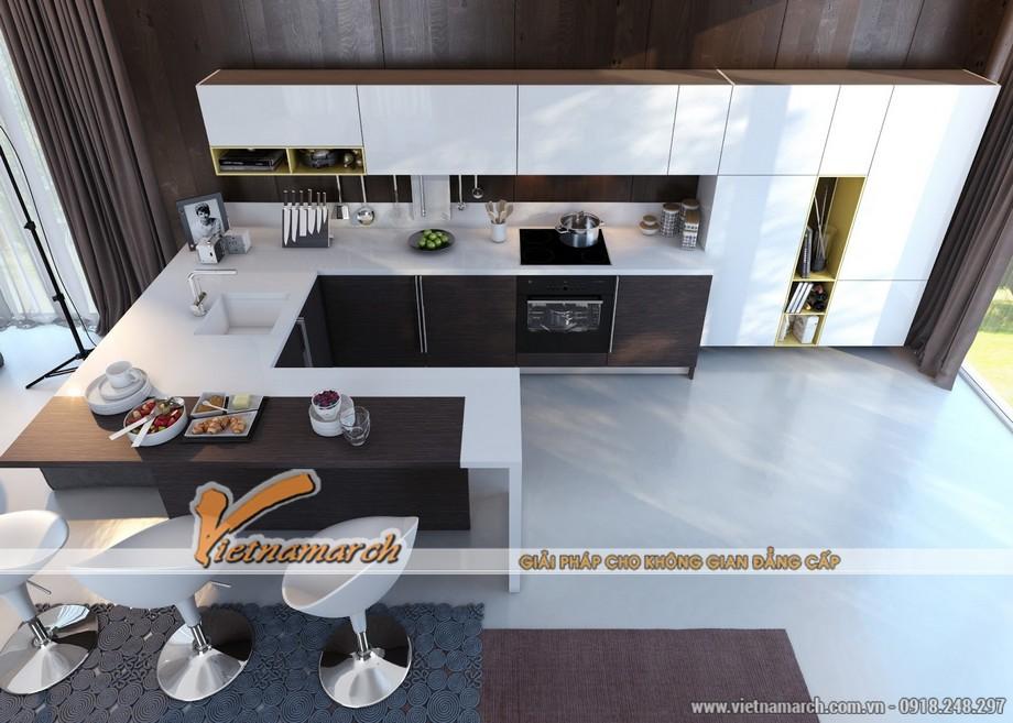 Ý tưởng thiết kế nội thất nhà bếp với sự tương phản giữa màu đen và trắng.