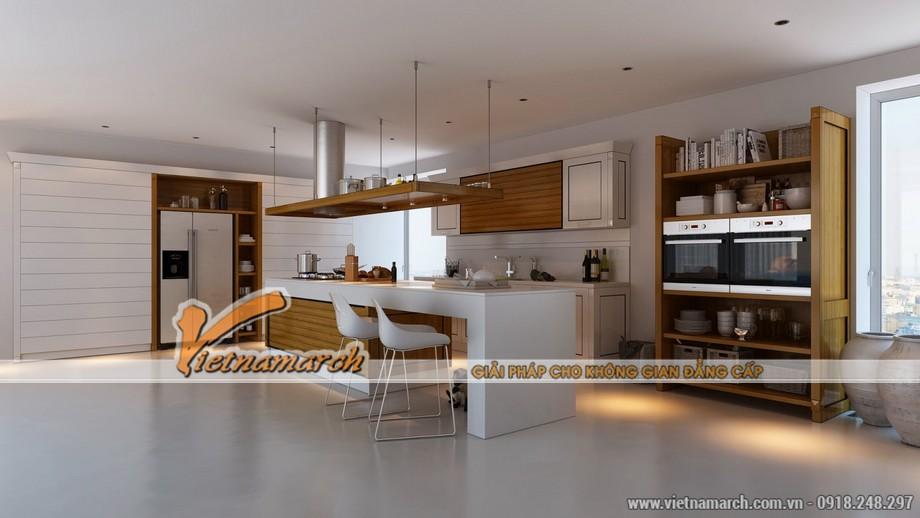 Đưa gỗ vào trong thiết kế nội thất nhà bếp để tạo không gian ấm cúng