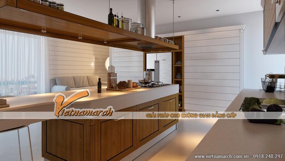 Mẫu phòng bếp ấm cúng với nội thất đồ gỗ
