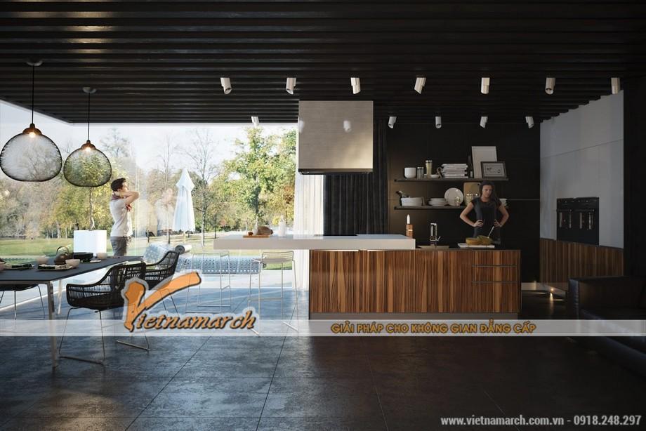 Nhà bếp với thiết kế hiện đại và không gian mở