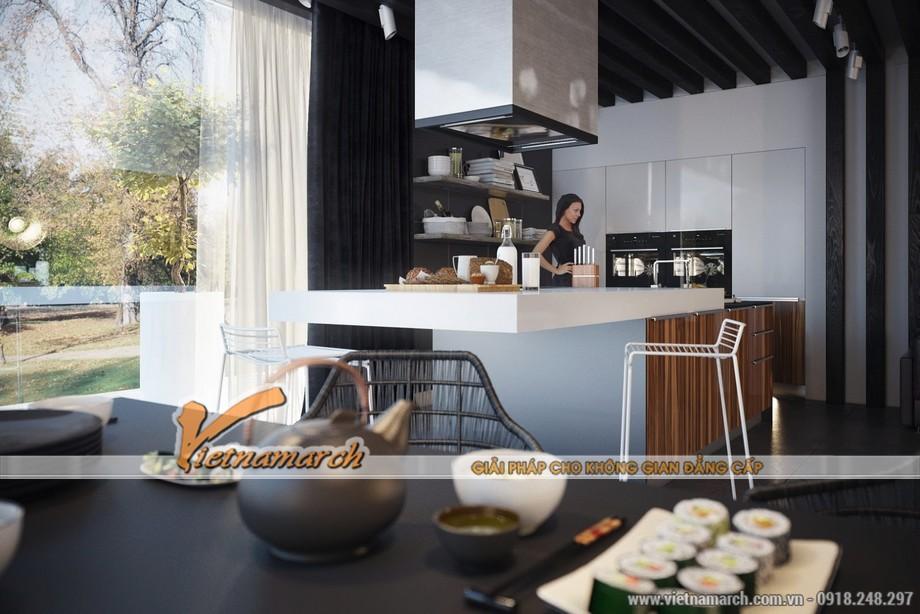 Phòng bếp hiện đại và gần gũi với thiên nhiên