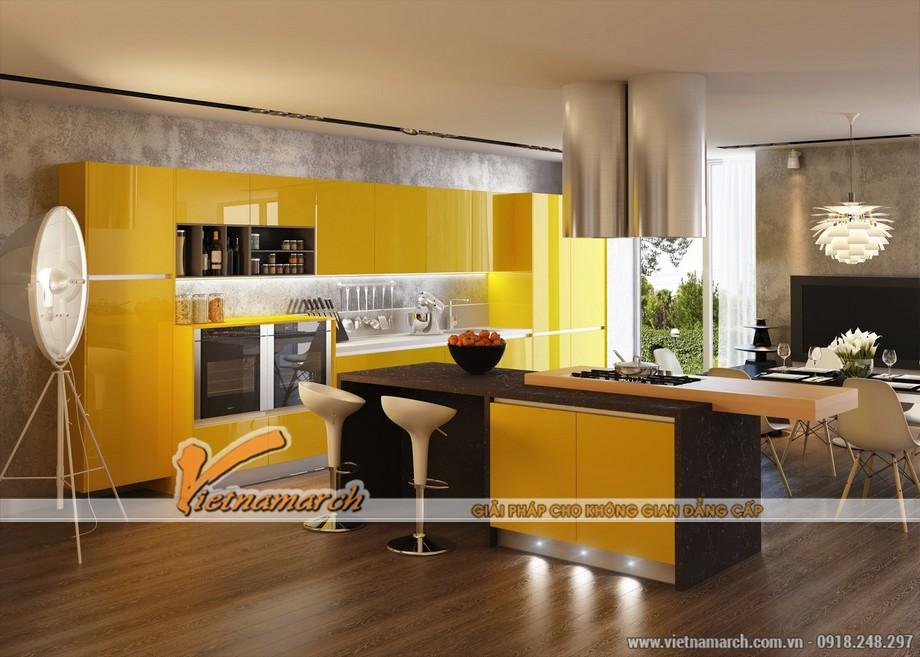 Phòng bếp tươi mới với tông màu vàng