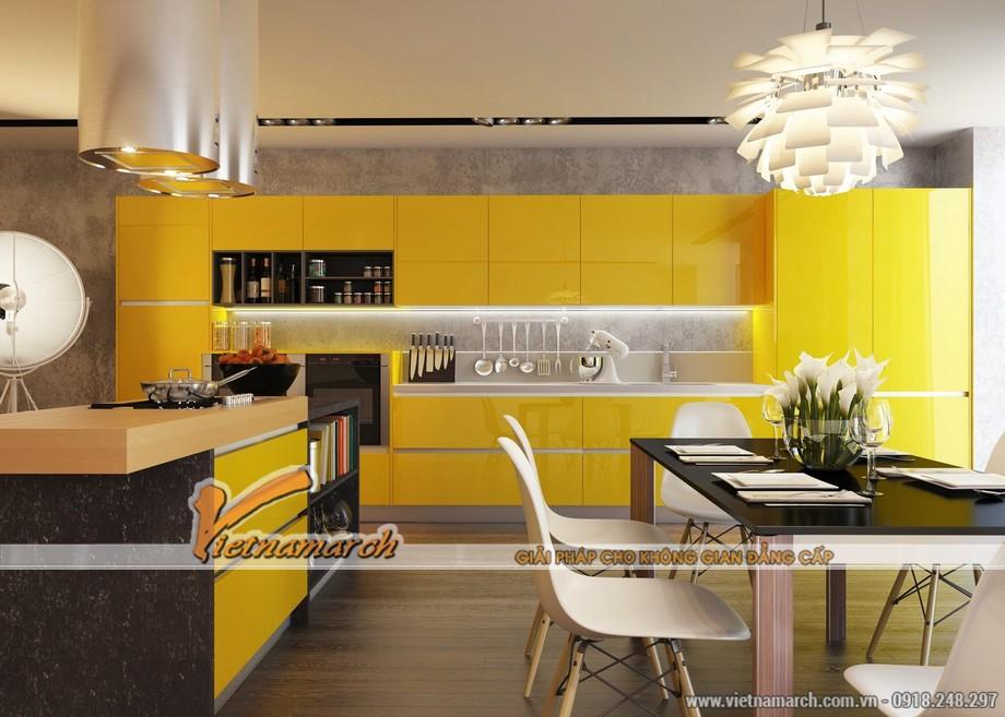 Nội thất phòng bếp hiện đại và tươi mới