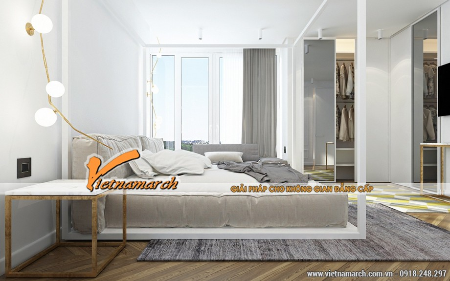 Phòng ngủ thoáng mát, nội thất nhẹ nhàng