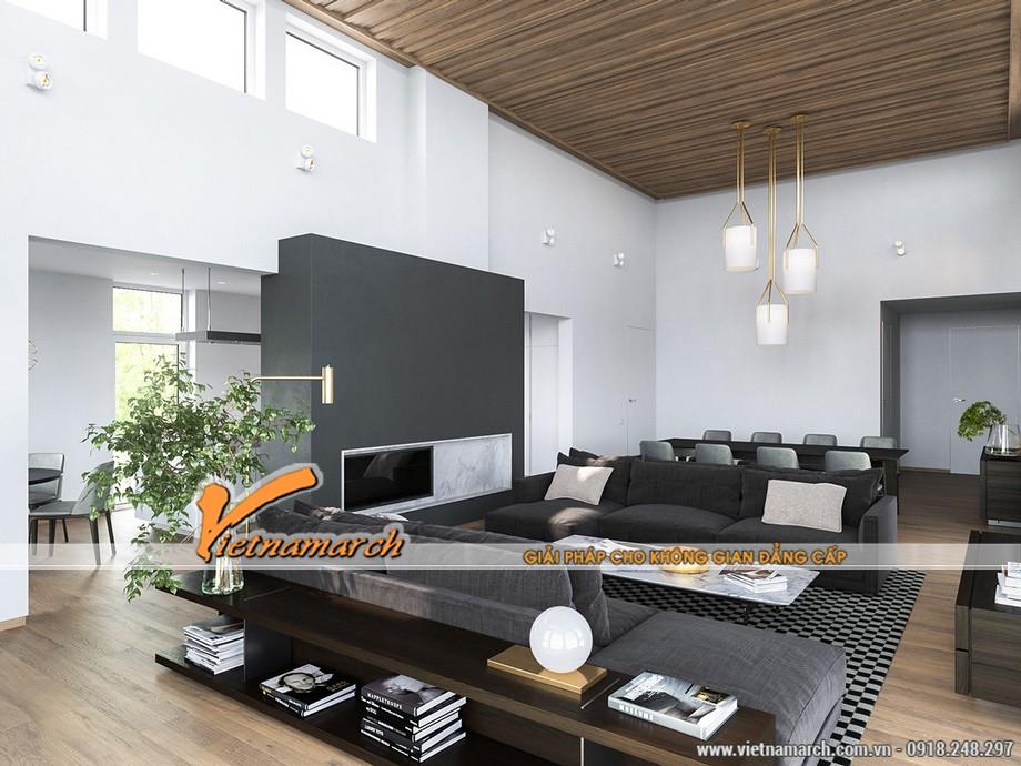 Thiết kế nội thất nhà phố: Phòng khách lịch lãm trong gam màu xám