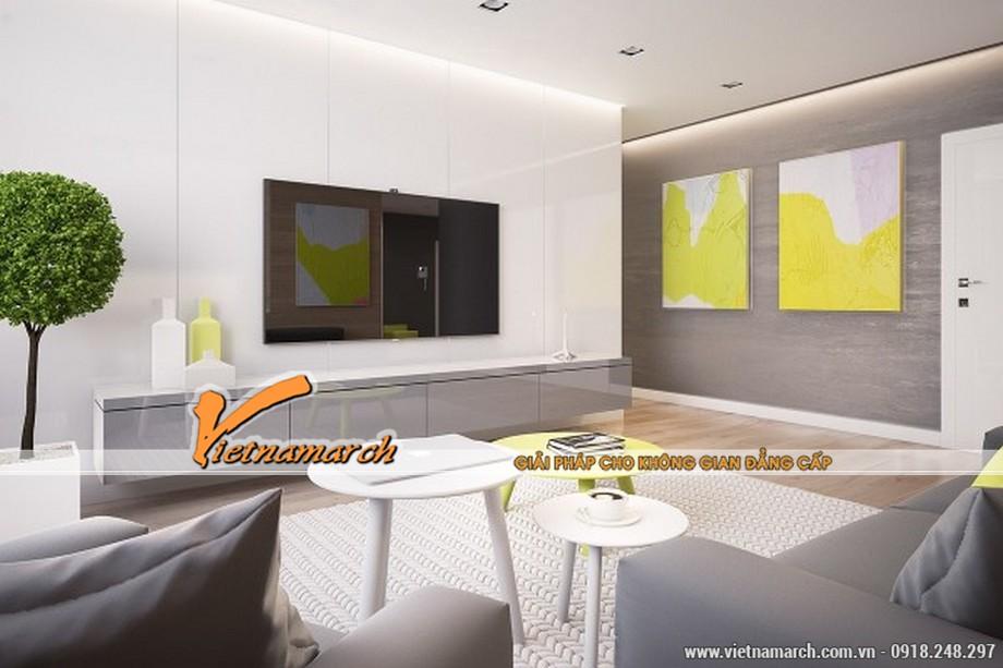 Thiết kế nội thất nhà phố phòng khách với gam màu tươi sáng