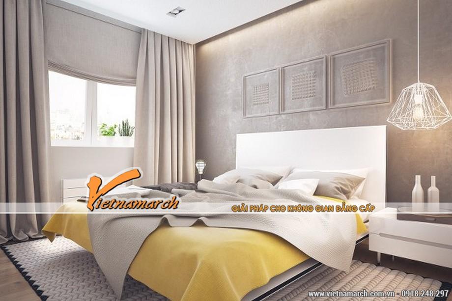 Phòng ngủ master được thiết kế nội thất với màu sắc ấm cúng, hạnh phúc