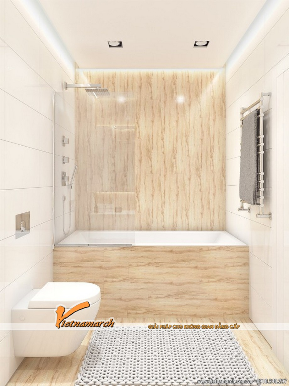 Thiết kế nội thất nhà phố 2 tầng phòng tắm thanh lịch, thoáng đãng