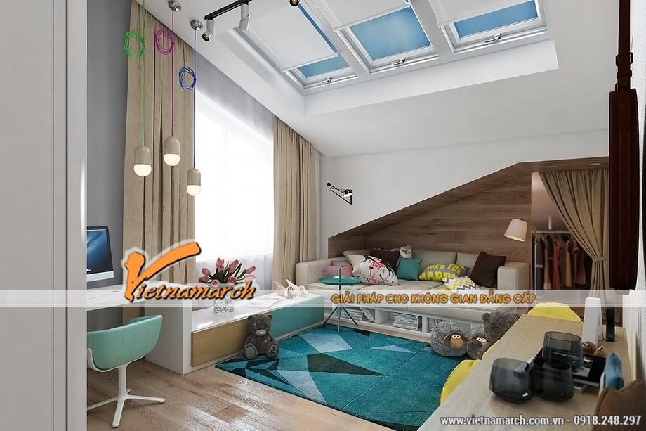 Thiết kế nội thất nhà phố phòng ngủ tươi vui cho trẻ con
