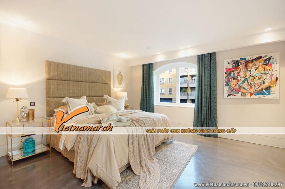 Thiết kế nội thất phòng ngủ đơn giản nhưng không kém phần sang trọng