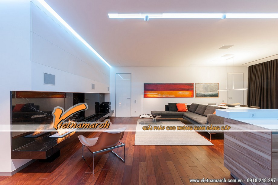 Thiết kế nội thất nhà phố đẹp độc lạ bằng đá cẩm thạch đen