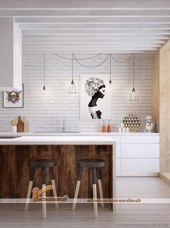 Một không gian bếp kết hợp của sự hiện đại và truyền thống